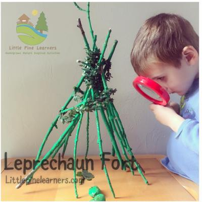Here is a fun STEAM activity for your kindergartener. This little nature lover helped me build a leprechaun fort for St. Patrick's Day.