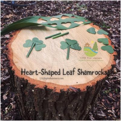 We punched hearts out of a leaf with our heart paper puncher to make shamrocks.