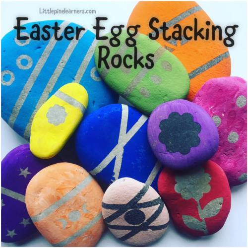 Make this fun nature craft for Easter! These Easter egg stacking rocks are fun to play with and look beautiful. They will keep your little one busy!.jpg