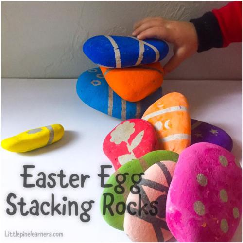 Make this fun nature craft for Easter! These Easter egg stacking rocks are fun to play with and look beautiful. You and your little nature lover will love making these!.jpg