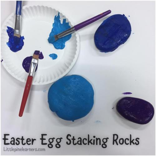 Make this fun nature craft for Easter! These Easter egg stacking rocks are fun to play with and look beautiful. .jpg