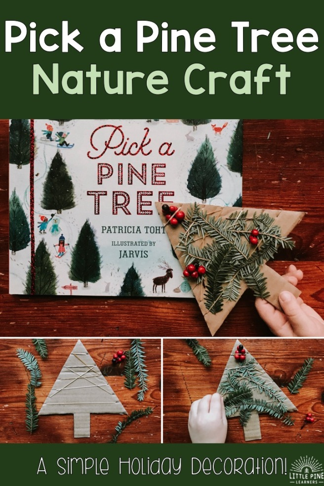 Try this simple and adorable nature weaving holiday craft for kids of all ages! Pair it with the book Pick a Pine Tree and your snowy afternoon plans are set. This nature craft makes for the perfect pine tree decoration, handmade gift, or holiday fine motor activity.